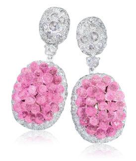 Pink Sapphire Briolette Drop Earrings
